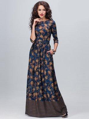 Платье синее в принт | 2003252