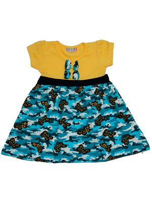Сукня жовто-блакитна з принтом | 2946643