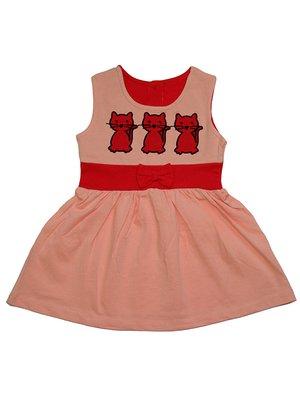 Сукня персикового кольору з принтом | 2946659