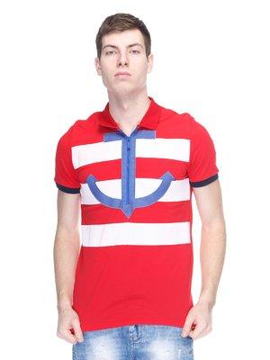Футболка-поло червоно-біла в смужку з аплікацією   2146892