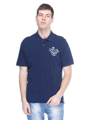 Футболка-поло синя з принтом | 2333321