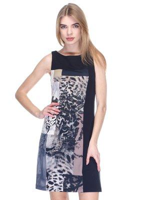 Платье черное с анималистическим принтом | 2946791