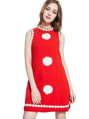 Платье красное с декором | 2950468