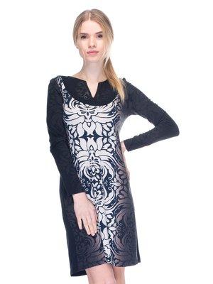 Сукня чорна з принтом | 2946815