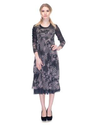 Сукня чорно-сіра у принт | 2946816