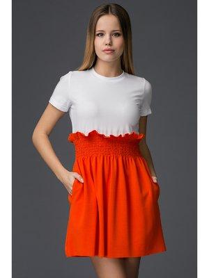 Платье бело-оранжевое | 2948593