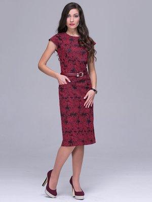Платье бордовое в цветочный принт | 2955867