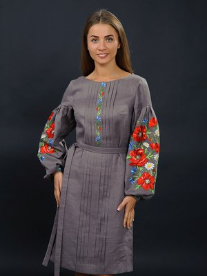 Сукня сіра з вишивкою | 2875062