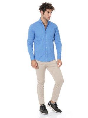Сорочка яскраво-синя в смужку | 2968539
