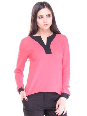 Блуза коралово-чорного кольору | 2917902