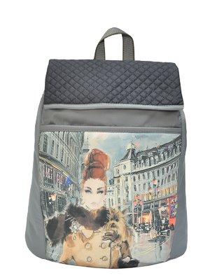 Рюкзак серый с принтом | 2983417