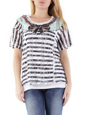 Блуза різнобарвна в смужку | 2985011
