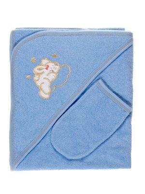 Комплект для купания: полотенце-уголок и рукавичка | 2987642