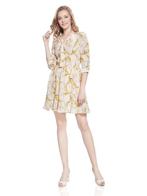 Платье светло-коричневое с принтом | 2950182