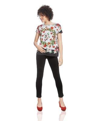 Блуза бело-черная в цветочный принт | 2950273