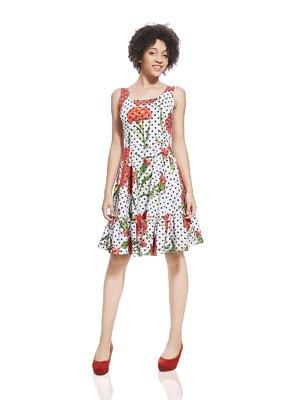 Платье белое в горох и цветочный принт | 2950274