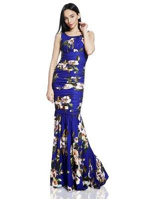 Сукня синя в принт | 2950510