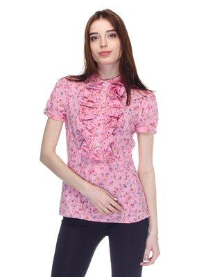 Блуза коралловая в цветочный принт | 2977176