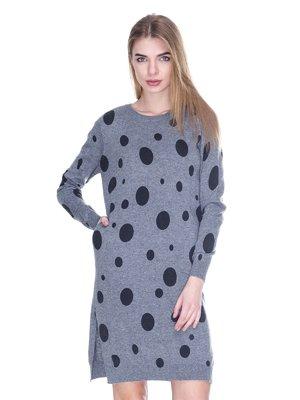 Платье серое в горошек | 2927141
