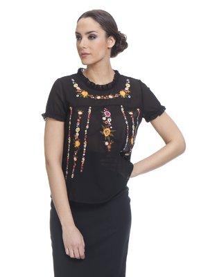 Блуза черная с принтом   3013732