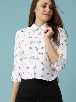 Рубашка белая с принтом | 3018478