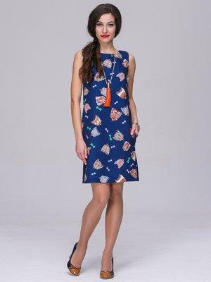 Платье синее в принт | 3019317