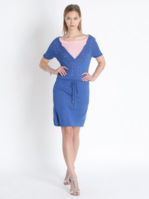 Сукня синьо-рожева з декором | 2408058