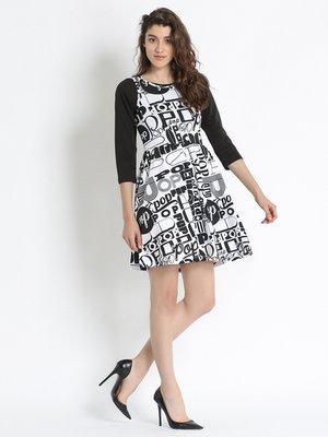 Сукня чорно-біла в принт | 2691510