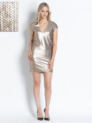 Платье золотистое, декорированное пайетками | 2739672