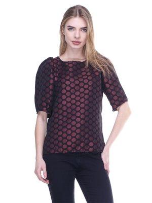 Блуза черная в горох | 3020388