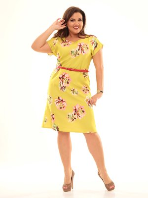 Платье салатового цвета в цветочный принт | 2592925