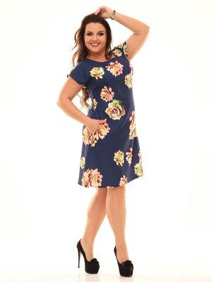 Сукня темно-синя кольору в квітковий принт | 2592926