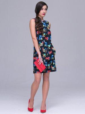 Платье черное в принт | 3032253