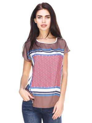 Блуза коричневая с принтом | 3029878