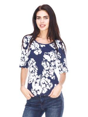 Блуза сине-белая с комбинированным принтом | 3029886