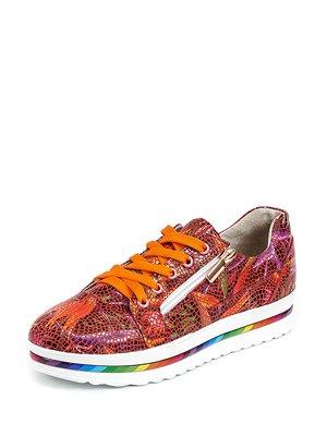 Туфлі помаранчеві з квітковим принтом | 3029066