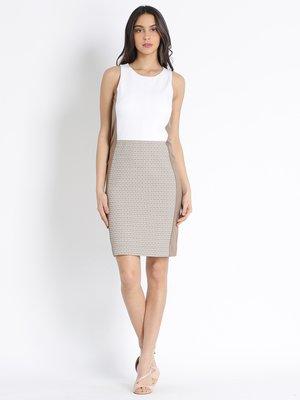 Сукня двоколірна в принт | 3041620