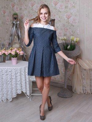 Сукня синя з принтом | 3050043