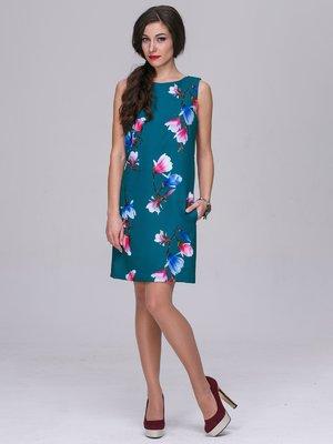Сукня смарагдова в квітковий принт | 3052331