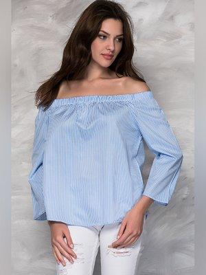 Блуза голубая в полоску   3049136