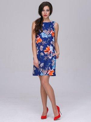 Платье синее в цветочный принт | 3063857