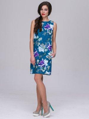Платье бирюзовое в цветочный принт   3063859
