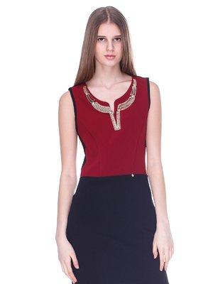 Платье черно-бордовое | 3054188