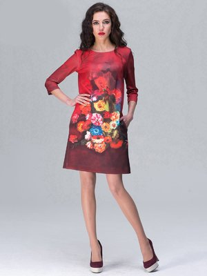 Платье красное с цветочным принтом | 2155332