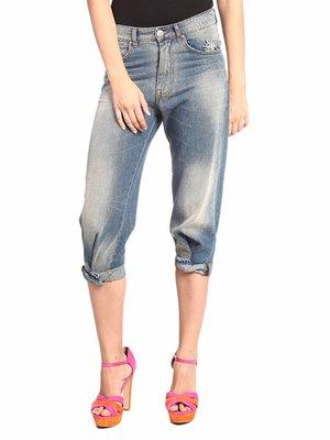 Капрі сині джинсові з ефектом потертих | 2336913