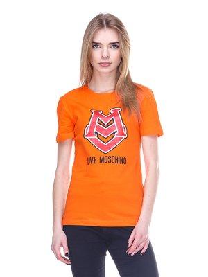 Футболка помаранчева з принтом | 2112575