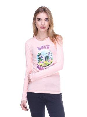 Лонгслив розовый с принтом | 2146517