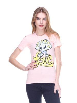 Футболка рожева з принтом | 2146507
