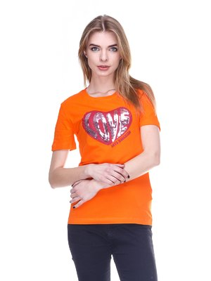 Футболка оранжевая с принтом | 2112555
