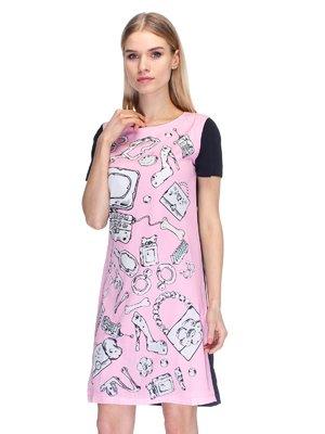 Платье розовое в принт | 2112580